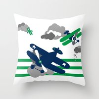 airplanes Throw Pillows featuring Vintage Airplanes one  by ann t jones