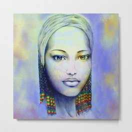 Creole African Girl Portrait Hand Drawing  Metal Print