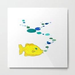 Yellow Fish w/Bubble (Babel Bubble 2) Metal Print