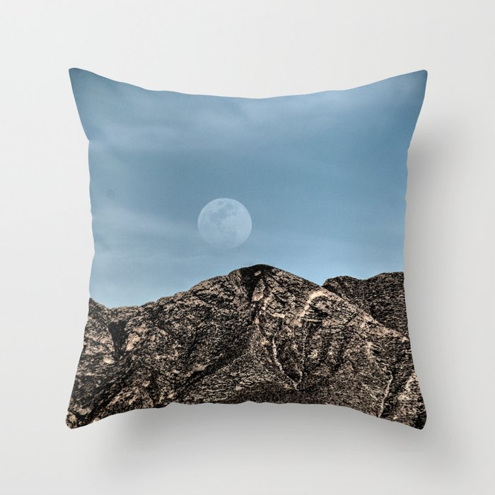 Moon over the Franklin Mountains Throw Pillow