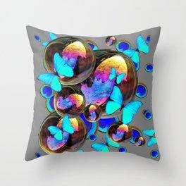BLUE & GOLD  BUBBLES BLUE BUTTERFLIES PEACOCK EYES Throw Pillow