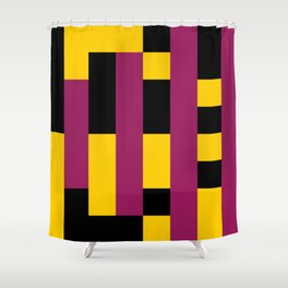 A lot of rectangles, all put in a way that it seems it is a 3d thing, but it's 2d, purple carpet. Shower Curtain