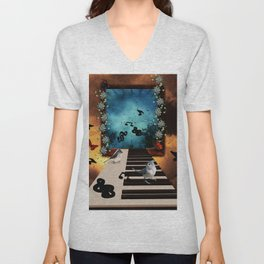 Music, piano with birds and butterflies Unisex V-Neck
