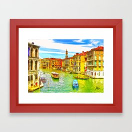 Awesome Venice Italy, Canal View painting illustration Framed Art Print