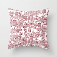 Doctor Who Toile de Jouy   'Walking Doodle'   Red Throw Pillow