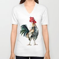 rooster V-neck T-shirts featuring Rooster by Bridget Davidson