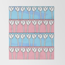 Lots of Tulips - Pink Blue Throw Blanket