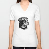 rottweiler V-neck T-shirts featuring Rottweiler Devotion by Patricia Howitt