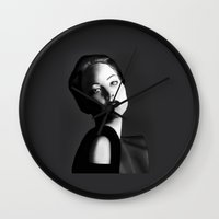 jennifer lawrence Wall Clocks featuring Jennifer Lawrence by BeckiBoos