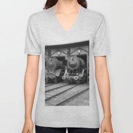 Old steam locomotive in the depot ZUG013CBx Le France black and white fine art photography by Ksavera Unisex V-Neck