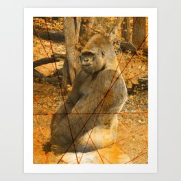 Magnificent Silverback Lowland Gorilla Grunge Photo with Vintage Effects Art Print