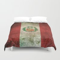 peru Duvet Covers featuring Old and Worn Distressed Vintage Flag of Peru by Jeff Bartels