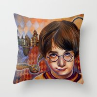 quidditch Throw Pillows featuring Harry's First Quidditch Match by S.G. DeCarlo
