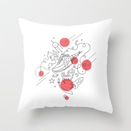 Dogs in space Throw Pillow