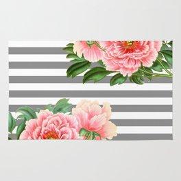 Pink Peonies Grey Stripes Chic Rug