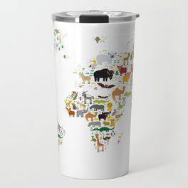Cartoon animal world map for children and kids, Animals from all over the world on white background Travel Mug