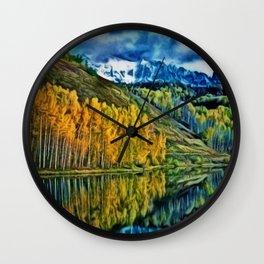 Western Rockies Aspen Forest & Lake Landscape by Jeanpaul Ferro Wall Clock