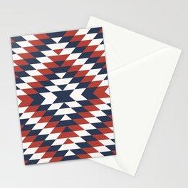Coastal large Navajo Aztec diamonds diagonal kilim marine blue, red pattern Stationery Cards