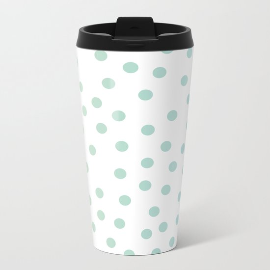 Simply Dots in Turquoise Green Blue Gradient on White Metal Travel Mug