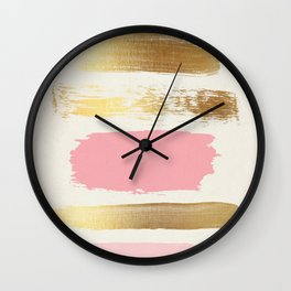 Brush Strokes (Rose/Gold) Wall Clock