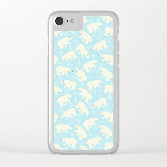 Polar bear pattern on ice aqua backround Clear iPhone Case