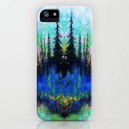 Blue Spruce Island Abstract Art iPhone Case