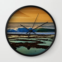Indonesian Wave and Volcano Wall Clock