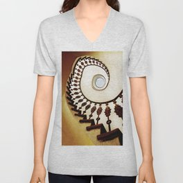 Spiral staircase in warm colours Unisex V-Neck