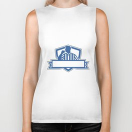 Referee Umpire Official Hold Whistle Crest Retro Biker Tank