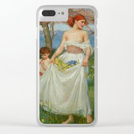 """John William Waterhouse """"A Song of Springtime"""" Clear iPhone Case"""