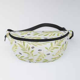 Watercolor Olive Branches Pattern Fanny Pack