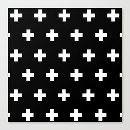 Cross Pattern Black and White Canvas Print