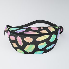 Rainbow Crystal Pattern on Black Fanny Pack