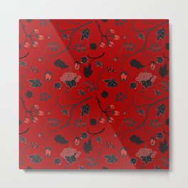 Red berry, Christmas Brier Spray Pattern Metal Print