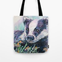 badger Tote Bags featuring Badger by Sarah Jane Bradley