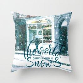 Snow Street Throw Pillow