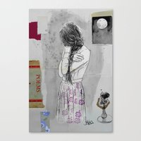 poem Canvas Prints featuring moon poem by LouiJoverArt