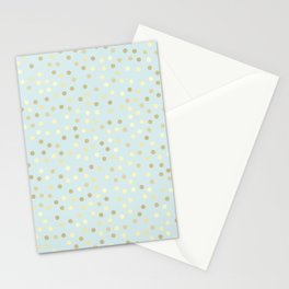 Baby Blue & Gold Polka Dots Stationery Cards