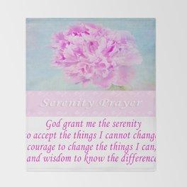 Serenity Prayer With Pink Peony Throw Blanket