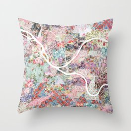 Pittsburgh map flowers Throw Pillow