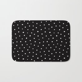 Minimal- Small white polka dots on black -Mix & Match with Simplicty of life Bath Mat