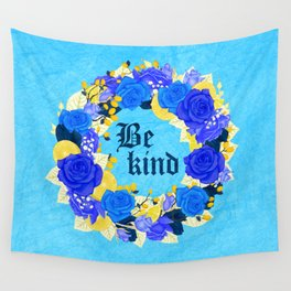Flower wreath | Be kind Wall Tapestry