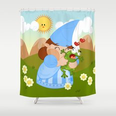 kissing the enchanted frog Shower Curtain