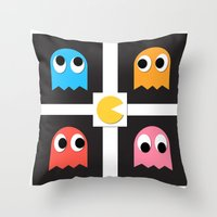 pac man Throw Pillows featuring pac man by pixel.pwn | AK