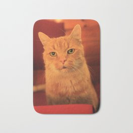 Cat in Red with milk mustache Bath Mat