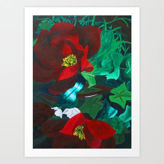 Red Flower Wreath Art Print