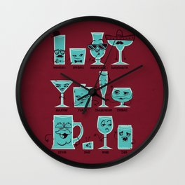 Field Guide to Alcoholic Drinkware Wall Clock