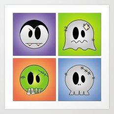 Little Halloween Monsters Art Print