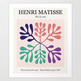 Matisse cutouts abstract drawing,matisse poster,matisse print, female abstract art, eclectic art, mo Art Print