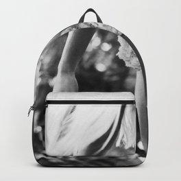 Mahalo!  Hawaiian Lei blond female portrait black and white photography - photographs Backpack